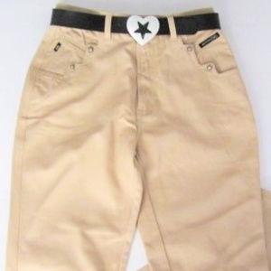 "Jeans Beige Stars FREE BELT size11-30""waist 42""hip"
